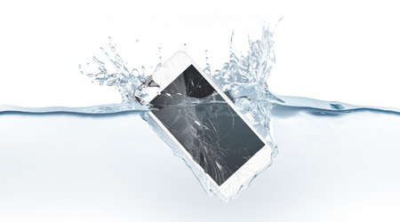 White broken smartphone mock up sinks in water, 3d rendering. Mobile smart phone with touch screen mockup fall under liquid surface. Electronic waterproof cellphone falling and dive with splashes.