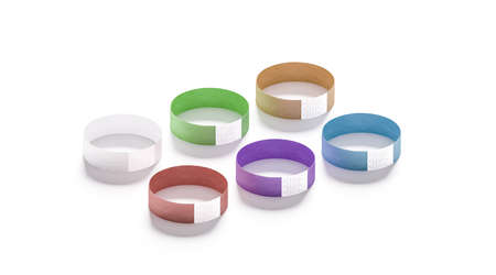 Blank colored paper wristbands mockups, 3d rendering. Empty event wrist bands design mock up. Cheap color hand bracelets template, isolated. Clear bangle wristlet set with sticker. Concert armlet Stock Photo