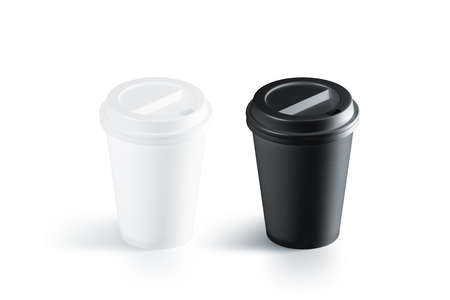 Blank black and white disposable paper cup with plastic lid mockup isolated, 3d rendering. Empty polystyrene coffee drinking mug mock up front view. Clear plain tea take away package