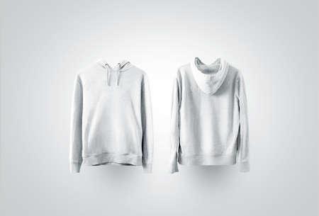 빈 흰색 스웨터 모형 세트, 전면 및 후면 측면보기. 빈 땀이 셔츠를 랙에 조롱. 클리어 코튼 후드 티 템플릿. 일반 섬유 까마귀. 느슨한 전체 점퍼 드레스 인쇄. 스톡 콘텐츠 - 87274919
