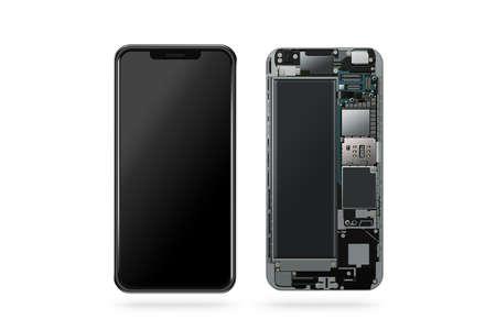 격리 된, 칩, 마더 보드, 프로세서, cpu 및 세부 정보, 3d 렌더링 안에 새로운 현대 스마트 휴대 전화. 스마트 폰 부품 수리. 핸드폰 칩셋 구성. 전화 지문