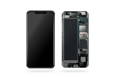 Nieuwe moderne slimme telefoon binnen geïsoleerd, chip, moederbord, processor, cpu en details, 3D-rendering. Reparatie van smartphonecomponenten. Cellphone chipset constitutie. Telefoonscecificatie gedemonteerd