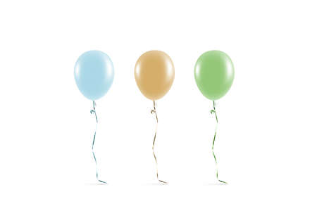 Blank coloured balloon mock ups isolated. Clear colored balloon art design mockup. Clean pure baloon template. Logo, texture, pattern presentation on plain aerostat design element.