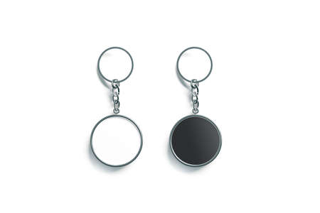 Blank metal round black and white key chain mock up top view, 3d rendering. Clear silver circular keychain design mockup isolated. Empty plain keyring souvenir holder template. Steel trinket label