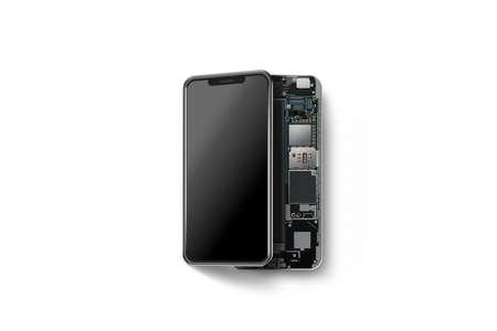 열린 된 셸 격리, 칩, 마더 보드, 프로세서, CPU 및 세부 정보, 3d 렌더링 새 현대 스마트 휴대 전화. 내부 스마트 폰. 핸드폰 칩셋 구성. 전화 지문 해체 스톡 콘텐츠