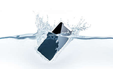 White new smartphone mockup fall in water, 3d rendering. Mobile smart phone with touch screen mockup sinks under liquid surface. Electronic waterproof cellphone falling and dive with splashes.