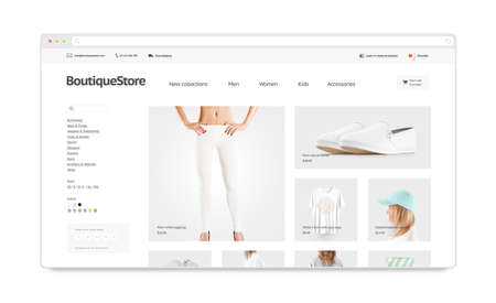 Blank browser window mock up with fashion web store template isolated, 3d illustration. Clothing web page interface mockup. Empty internet site template. Website screen layout for computer display. Stock Photo