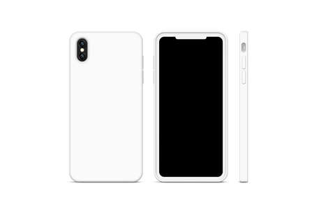 Blank white phone case mock up, stand isolated, 3d rendering. Empty smartphone cover mockup ready for logo or pattern print presentation. Cellphone protector cover concept. Cell plastic casing design Stok Fotoğraf - 92149303