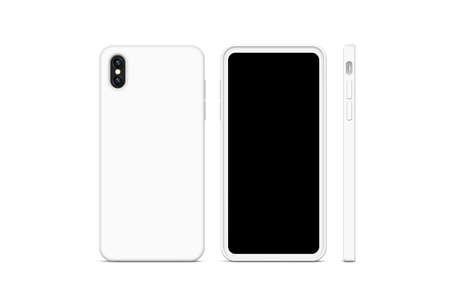 Blank white phone case mock up, stand isolated, 3d rendering. Empty smartphone cover mockup ready for pattern print presentation. Cellphone protector cover concept. Cell plastic casing design Imagens