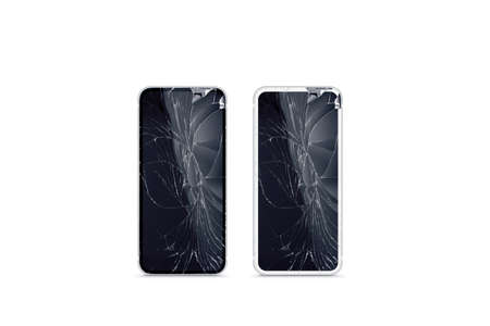 Broken mobile phone screen mockup, black and white, front view. Stock Photo
