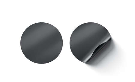 Blank black round adhesive stickers mock up with curved corner, 3d rendering.