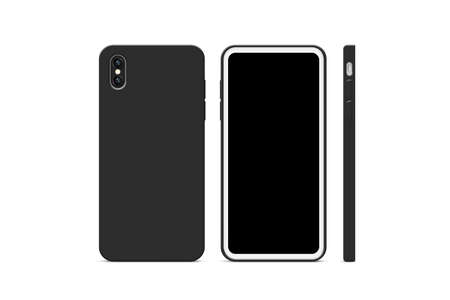 Blank black cellphone case mock up, stand isolated, 3d rendering. Imagens