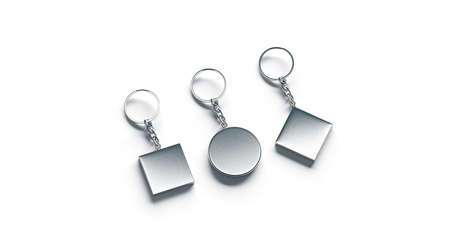 Blank silver key chain mock ups side set view, 3d rendering. Clear silvery circular square rhombus keychain design mockup isolated. Empty plain keyring souvenir holder template