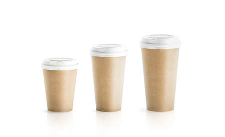 Blank craft brown paper cup mockup isolated, 3d rendering. Stock Photo