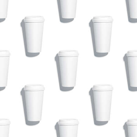 Blank isolated coffee cup mockups seamless pattern, 3d rendering. Loopable texture of disposable plastic mugs mock ups, top view. Clear takeaway containers tileable background template.