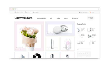 Plantilla de sitio de tienda web de regalos maqueta aislado, ilustración 3d. Accesorio maqueta de interfaz de página web. Plantilla de sitio web de Internet. Diseño de pantalla de la tienda web para la pantalla de la computadora. Foto de archivo - 95533190