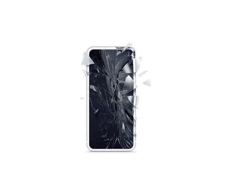 Modello rotto dello schermo del telefono cellulare, sparso isolato. Danneggiamento del monitor dello smartphone. Cellulare crash e scratch. Colpo di vetro del display del telefono. Problema di distruzione del dispositivo. Smash gadget, riparazione