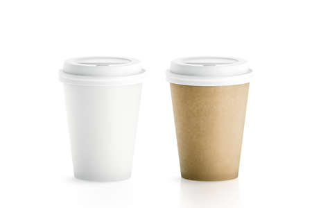 Blank white and brown disposable paper cups with plastic lid mock up isolated, 3d rendering. Empty polystyrene coffee drinking mug mockup front view. Clear plain tea take away package, cofe branding.