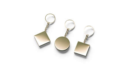 Blank golden key chain mock up side set view, 3d rendering. Clear gold circular square rhombus keychain design mockup isolated. Empty plain keyring souvenir holder template