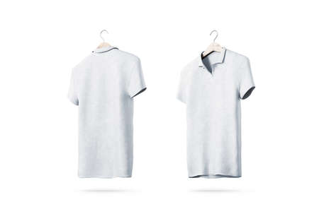 Blank white polo shirt with hanger mockup isolated, front and back side view, 3d rendering. Empty t-shirt uniform mock up. Plain clothing design template. Cotton clear with collar and short sleeves Stock Photo