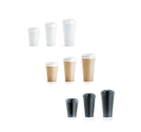 Blank black, white and brown craft disposable paper cup mock ups with lids, large, medium and small, 3d rendering. Empty polystyrene coffee drinking mug mockups side view. Clear tea take away package Stock Photo