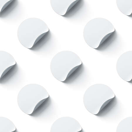Blank white round adhesive stickers mock ups seamless pattern with curl corners, 3d rendering. Empty circle sticky label mockup with fold. Clear tileable patern for glass door or wall. Фото со стока