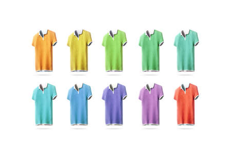 Blank colorful polo shirt mockup set, isolated, front side view, 3d rendering. Empty sport t-shirt uniform colored mock up. Cloth design template. Cotton clear dress with collar and short sleeves