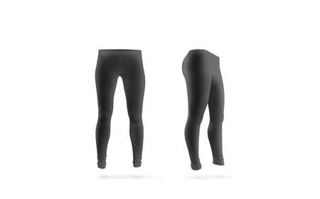 Blank black leggings mockup, front and side view, isolated. Women grey leggins template. Cloth pants design presentation. Sport pantaloons stretch tights model wearing. Stock Photo