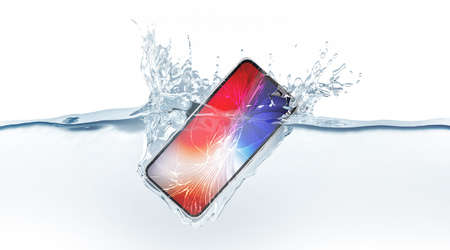 Black smartphone mock up with colored screen fall in water, 3d rendering. Mobile smart phone mockup sinks under liquid surface. New Electronic waterproof cellphone falling and dive with splashes.