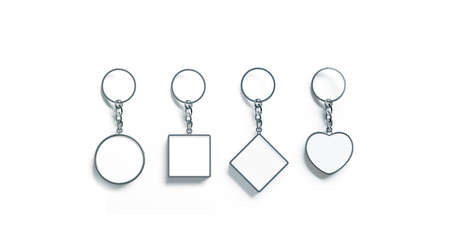 Blank silver key chain mock up top view set, 3d rendering. Clear silvery circular square rhombus heart keychain design mockup isolated. Empty plain keyring souvenir holder template