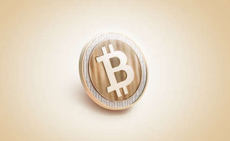 Blank gold shiny bitcoin mockup, 3d rendering. Empty golden bit coin piece of money mockup, side view. Clear valuable shiner template