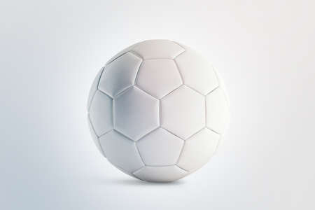 Blank white soccer ball mock up, front view, 3d rendering. Empty football sphere mockup, isolated. Clear sport bal for playing on the clean field template Stock Photo