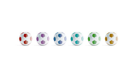 Blank colored soccer ball mock ups, front view, 3d rendering. Empty colours football mockup, isolated. Clear colorful ball for playing on the field template