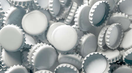 Blank white beer lid stack mock up, top view, 3d rendering. Empty metal soda inverted caps heap mock up design template. Clear bottle cover pile