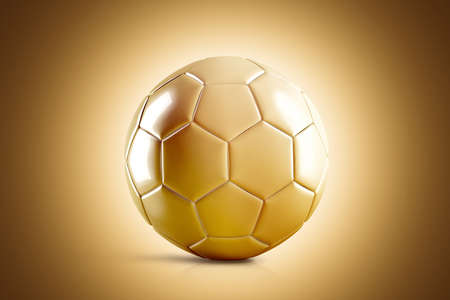Blank golden soccer ball mock up, front view, 3d rendering. Glossy gold football sphere mockup on brown surface. Sport bal for playing on the clean field template Stock Photo