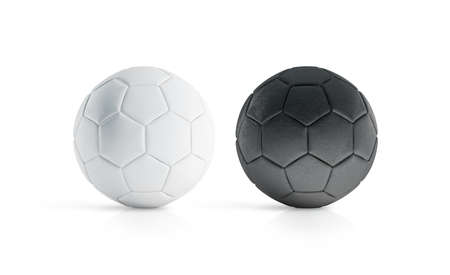 BLank black and white soccer ball mock up, isolated, 3d rendering. Empty football sphere mockup, isolated. Clear sport bal for playing on the clean field template