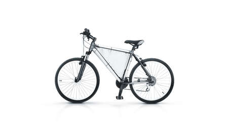 Blank White Sport Bicycle With Ad Banner Mock Up Isolated Clear Bike For Rent