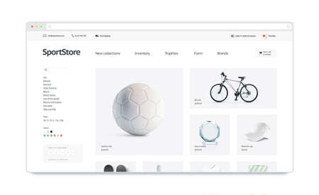 Sport webstore site template mock up isolated, 3d illustration. Training web page interface mockup. Internet website template. Web store screen layout for computer display. 写真素材