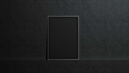 Blank black paper poster mockup, stand at gallery wall, isolated, 3d rendering. Empty placard with frame in museum mock up, front view. Clear photo art cadre in darkness template