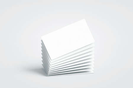 Blank white calling business cards stack mockup, no gravity, 3d rendering. Empty bussiness papers mock up. Clear namecard pile template. Visiting papersheet for for company name, phone number, email address.