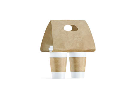 Blank two coffee cups craft carrier holder mockup, side view, 3d rendering. Empty cofe pack with sleeve and tray mock up. Clean brown drink clutches for takeout beverage. Disposable mobility container