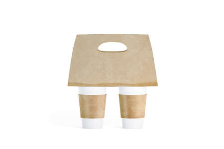 Blank two white coffee cups craft carrier holder mockup isolated, 3d rendering. Empty cofe or tea cupholder mock up front. Clear brown sleeve and tray template. Disposable mobility drink container