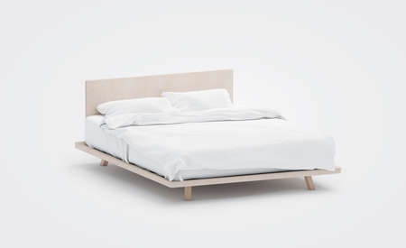 Blank white bed with pillows mockup, side view, isolated, 3d rendering. Empty bedclothes mock up. Clear blanket in bedstead. Doublebed with mattress and bedsheet. Doss with pilows and duvet.