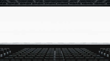 Blank white large screen in presentation hall mockup, front view, 3d rendering. Empty display for cimena or business conference mock up. Scene for event with auditorium. Meeting room template. Zdjęcie Seryjne - 109421882