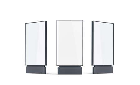 Pusty biały pylon makiety zestaw, na białym tle, renderowania 3d. Pusta makieta banera ulicznego, widok z przodu, z lewej i prawej strony. Przejrzysty ekran zewnętrzny do celów reklamowych. Szablon oznakowania cyfrowego. Zdjęcie Seryjne