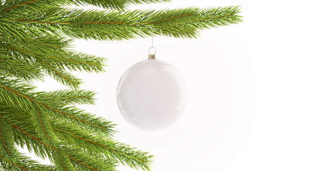 Blank white christmas ball hanging on pine tree mockup, isolated, 3d rendering. Empty decorated branch mock up. Clear toy on new year tre. Christmas with suspension baublle template.
