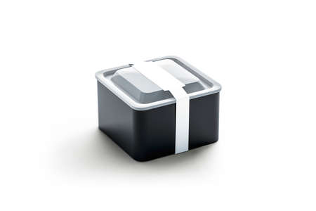 Blank black square disposable container with white rectangular label mockup, 3d rendering. Empty take away plastic tray mock up. Clear lunch box with package sticker template.
