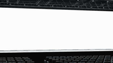 Blank white large screen in presentation hall mockup, left side view, 3d rendering. Empty cinema monitor mock up. Conference room with scene for business event or workshop. Parlor for seminar template