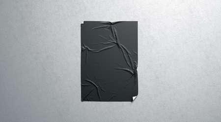 Leeres schwarzes Weizenkleber-Plakatmodell auf strukturierter Wand, 3D-Rendering. Leeres städtisches Blattmodell des Klebers oben. An der Wand befestigte Leinwand für Cinema Affiche. Grunge-Plakat für das Branding. Standard-Bild