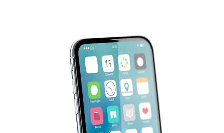 Blank white app icon on phone screen mockup, 3d rendering. Empty square button on display mock up. Mobile interface template. Touchscreen with sign design.